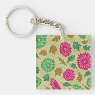 Pink and Bright Teal Vintage Floral Acrylic Keychains