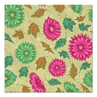 Pink and Bright Teal Vintage Floral Photo Art