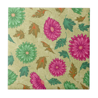 Pink and Bright Teal Vintage Floral Small Square Tile