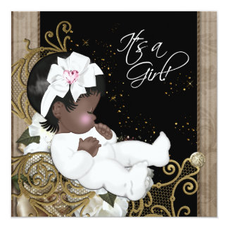 Pink and Brown African American Baby Girl Shower Personalized Invitations