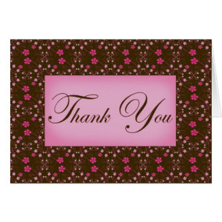 Pink and Brown All Purpose Thank You Greeting Card