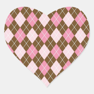 Pink and Brown Argyle Diamond Print Heart Sticker