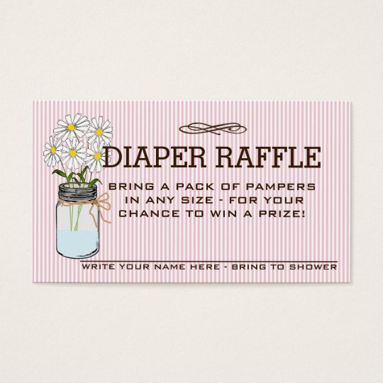 Pink and Brown Baby Shower Diaper Raffle Ticket |