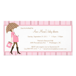 Pink And Brown Baby Shower Invitation Customised Photo Card