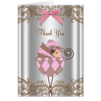 Pink and Brown Baby Shower Thank You Note Card