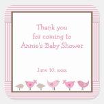 Pink and Brown Birds Baby Shower Favor Sticker