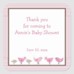 Pink and Brown Birds Baby Shower Favour Sticker