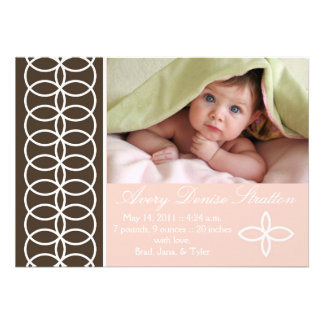Pink and Brown Birth Announcement