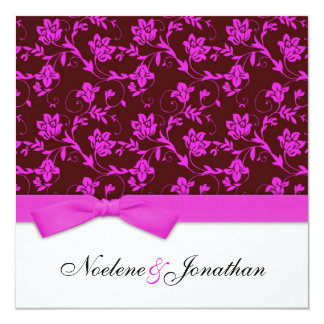 Pink and Brown Bow Flower Wedding Invitation