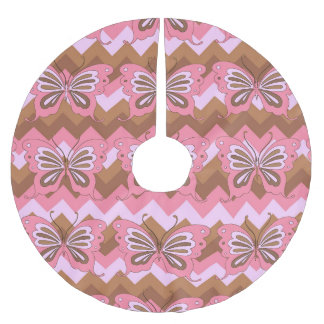 Pink and Brown Butterfly Brushed Polyester Tree Skirt