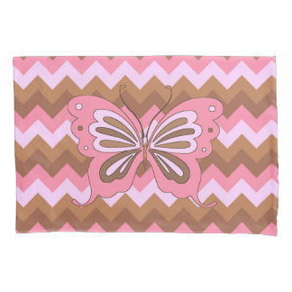 Pink and Brown Butterfly Pillowcase