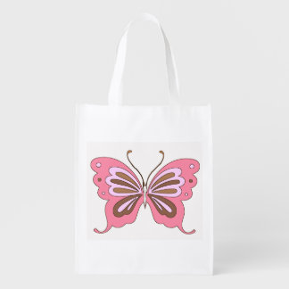 Pink and Brown Butterfly Reusable Bag