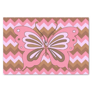 Pink and Brown Butterfly Tissue Paper