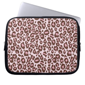 Pink and Brown Cheetah Print Laptop Sleeve