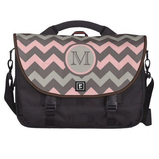 Pink and Brown Chevron with Initial Laptop Bag
