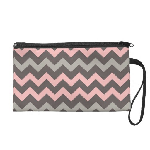 Pink and Brown Chevron Zigzag Wristlet