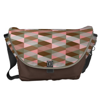 pink and brown colors geometric figure patterns commuter bags
