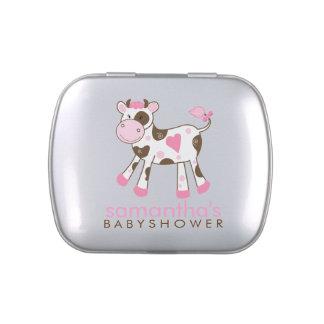 Pink and Brown Cow Customizable Favor Tin Candy Tin