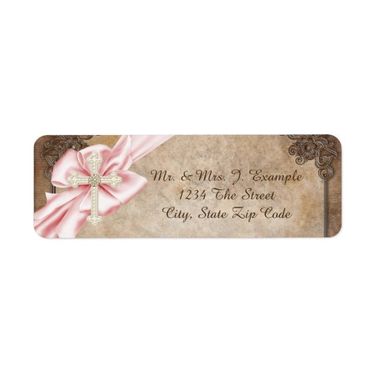 Pink and Brown Cross Address Return Address Label