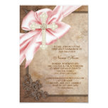 Pink and Brown Cross First Communion 9 Cm X 13 Cm Invitation Card