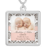Pink and Brown Damask Baby Photo Necklace Twins