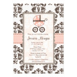 Pink and Brown Damask Baby Shower Invitations