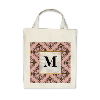 Pink and Brown Damask Monogram Canvas Bags