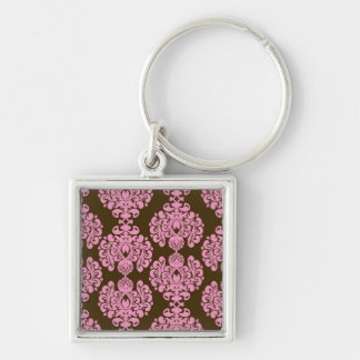 Pink and Brown Damask Pattern Gifts Key Chains