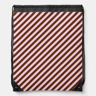 Pink and Brown Diagonal Stripes Drawstring Bag