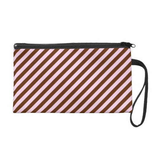 Pink and Brown Diagonal Stripes Wristlet Clutches