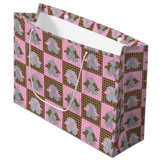 Pink and Brown Elephant Polka Dots Large Gift Bag