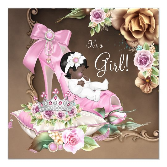 Pink and Brown Ethnic Princess Baby Shower Card