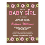 Pink and brown floral girl baby shower invitation