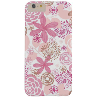 Pink and Brown Floral Pattern Barely There iPhone 6 Plus Case