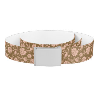 Pink and Brown Floral Pattern Belt