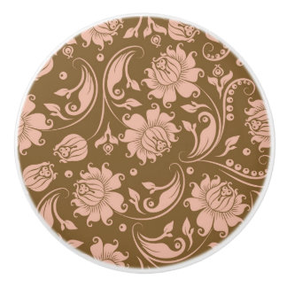 Pink and Brown Floral Pattern Ceramic Knob