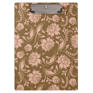 Pink and Brown Floral Pattern Clipboard