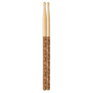 Pink and Brown Floral Pattern Drumsticks