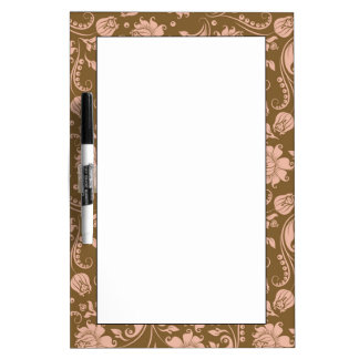 Pink and Brown Floral Pattern Dry-Erase Board