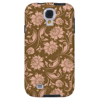 Pink and Brown Floral Pattern Galaxy S4 Case