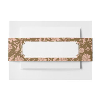 Pink and Brown Floral Pattern Invitation Belly Band