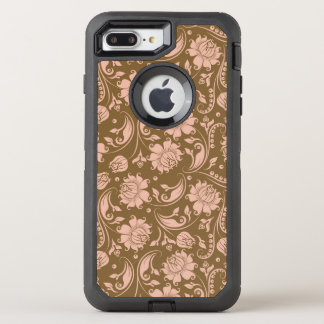 Pink and Brown Floral Pattern OtterBox Defender iPhone 8 Plus/7 Plus Case