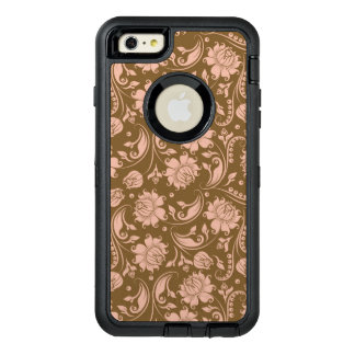 Pink and Brown Floral Pattern OtterBox Defender iPhone Case