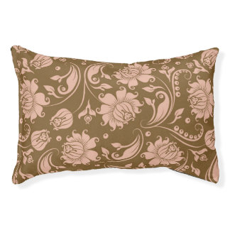 Pink and Brown Floral Pattern Pet Bed