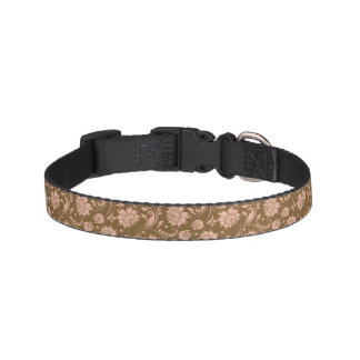 Pink and Brown Floral Pattern Pet Collar