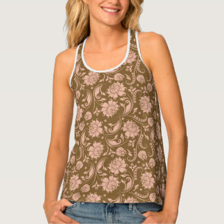 Pink and Brown Floral Pattern Tank Top