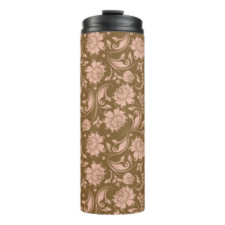 Pink and Brown Floral Pattern Thermal Tumbler