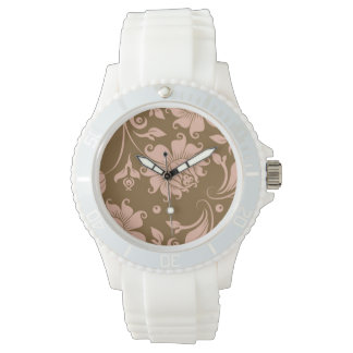 Pink and Brown Floral Pattern Watches