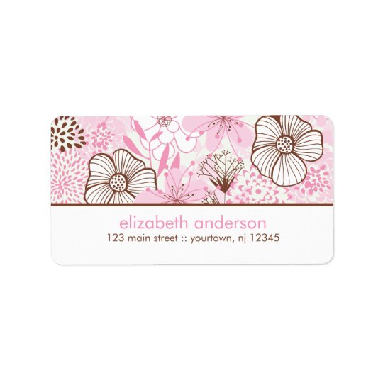 Pink and Brown Florals Label