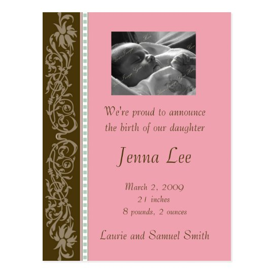 Pink and Brown Flourish (Customisable) Postcard